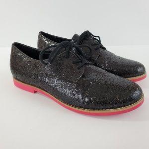 Steve Madden 'Jazie' Oxford Lace Up Sparkle Black